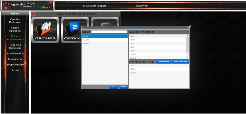 Folders Groups Screen