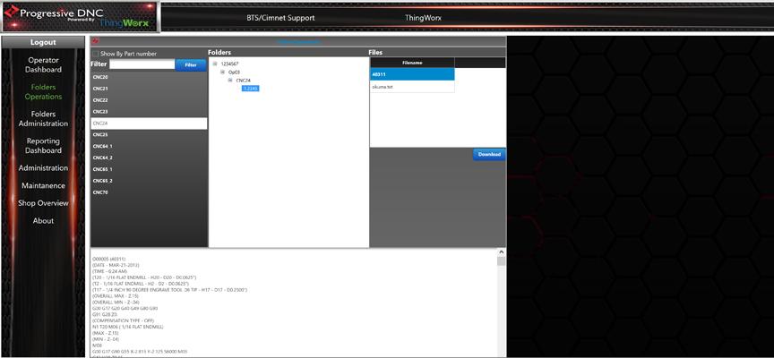 Folders Operations Screen